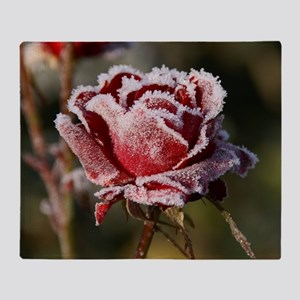 Rose With Frost On It Throw Blanket