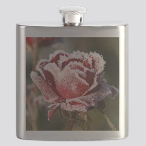 Rose With Frost On It Flask