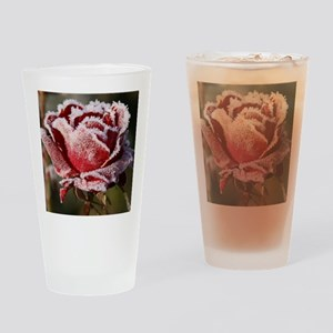 Rose With Frost On It Drinking Glass