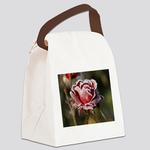 Rose With Frost On It Canvas Lunch Bag