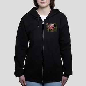 Rose With Frost On It Women's Zip Hoodie