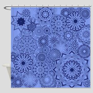 Snowflakes Blue Shower Curtain