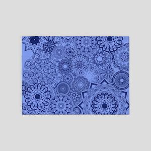 Snowflakes Blue 5'x7'Area Rug