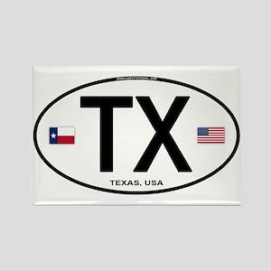 Texas Euro Oval - TX Rectangle Magnet