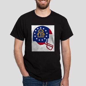 Georgia State Flag Football Helmet T-Shirt