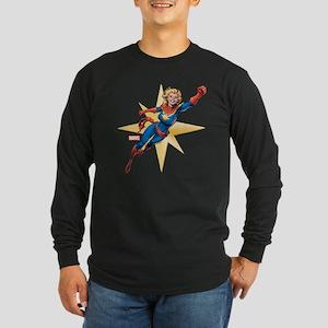 Captain Marvel Flying Long Sleeve Dark T-Shirt