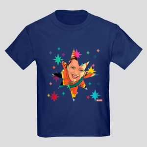Captain Marvel Stars Kids Dark T-Shirt