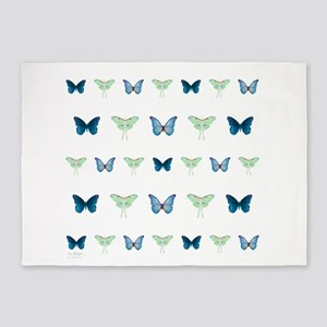 butterflies in blue and green 5'x7'Area Rug