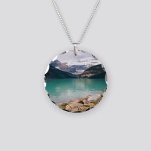 mountain landscape lake loui Necklace Circle Charm