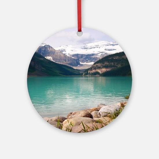 mountain landscape lake louise Round Ornament
