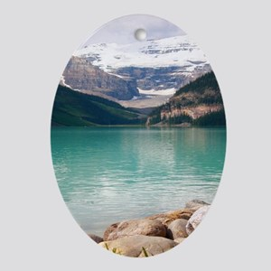 mountain landscape lake louise Oval Ornament
