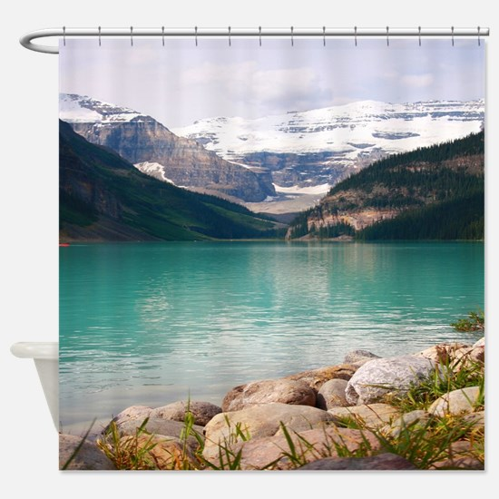 mountain landscape lake louise Shower Curtain