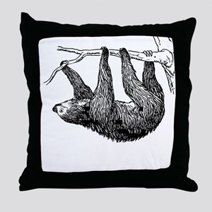Vintage Sloth Hang In There Throw Pillow