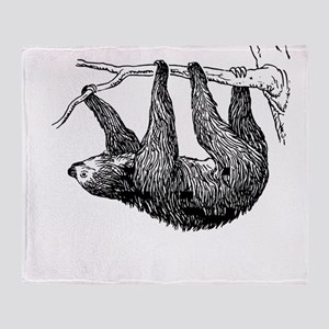 Vintage Sloth Hang In There Throw Blanket