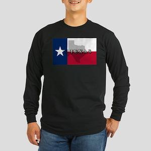 Texas Flag Extra Long Sleeve Dark T-Shirt