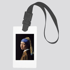 girl with a pearl Large Luggage Tag