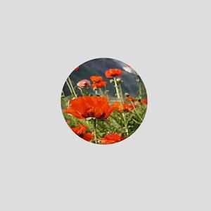 bold red poppy flower Mini Button