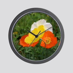 bold red poppy flower Wall Clock