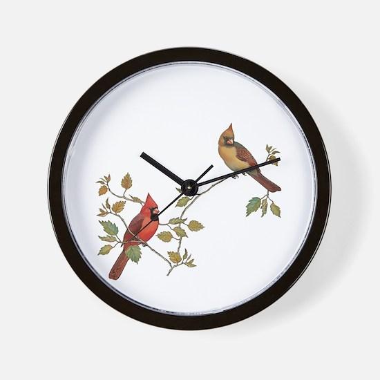 Cardinal Couple Wall Clock