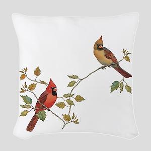 Cardinal Couple Woven Throw Pillow