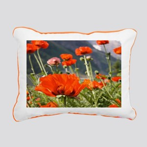bold red poppy flower Rectangular Canvas Pillow