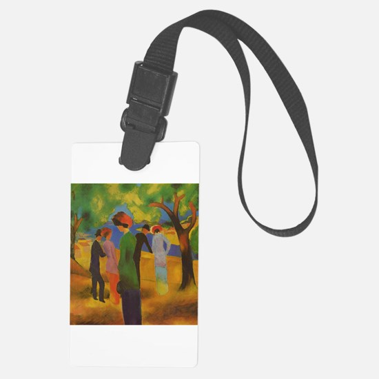 Woman in Green Jacket by Macke Luggage Tag