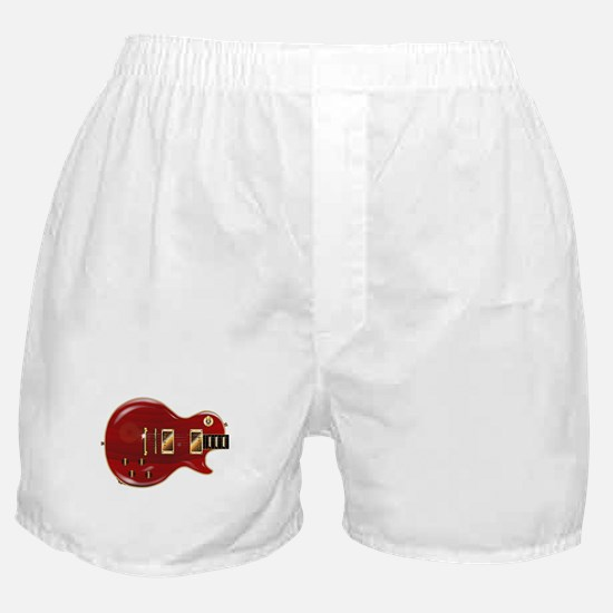 Red Grain Wooden Electric Guitar Boxer Shorts