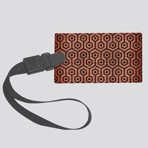 HEXAGON1 BLACK MARBLE & COPPER B Large Luggage Tag