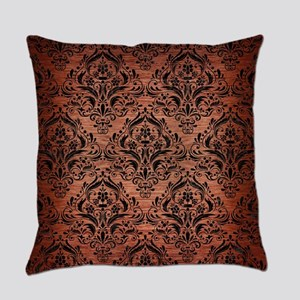 DAMASK1 BLACK MARBLE & COPPER BRUS Everyday Pillow