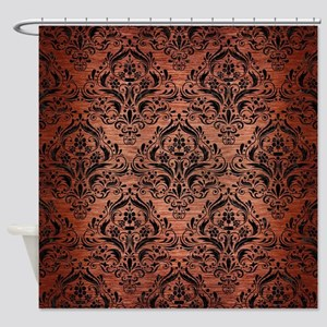 DAMASK1 BLACK MARBLE & COPPER BRUSH Shower Curtain