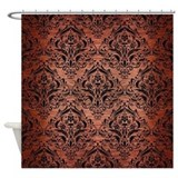 Copper and black Shower Curtains