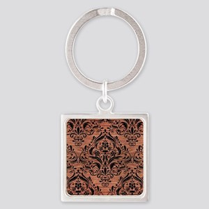 DAMASK1 BLACK MARBLE & COPPER BRUS Square Keychain