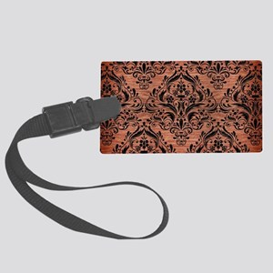 DAMASK1 BLACK MARBLE & COPPER BR Large Luggage Tag