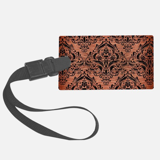 DAMASK1 BLACK MARBLE & COPPER BR Luggage Tag