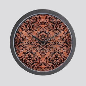 DAMASK1 BLACK MARBLE & COPPER BRUSHED M Wall Clock