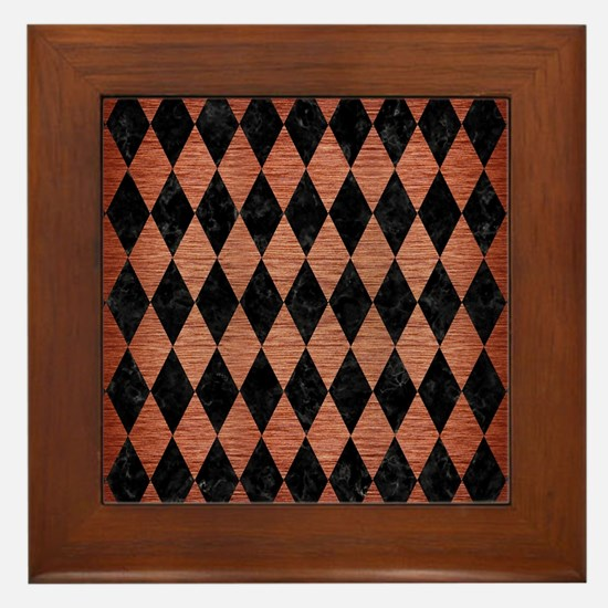 DIAMOND1 BLACK MARBLE & COPPER BRUSHED Framed Tile