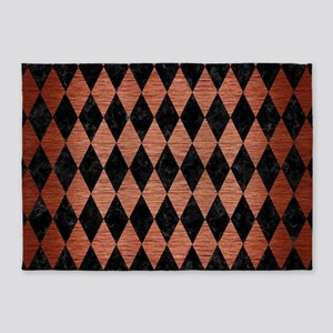 DIAMOND1 BLACK MARBLE & COPPER BRUS 5'x7'Area Rug
