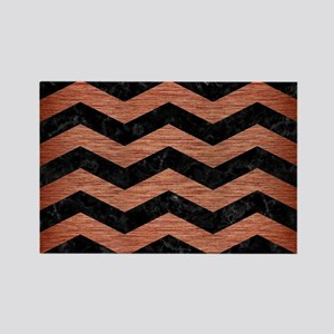 CHEVRON3 BLACK MARBLE & COPPER BR Rectangle Magnet