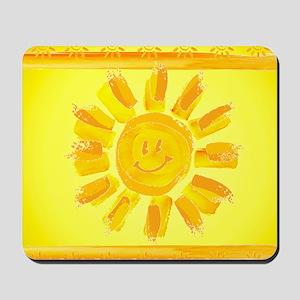 hAPPY SMILEY FACE SUNSHINE YELLOW ORANGE Mousepad
