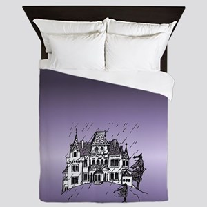 Haunted House Tall Purple Queen Duvet
