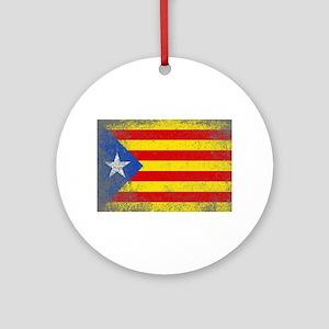 Grunge Catalan Flag Round Ornament