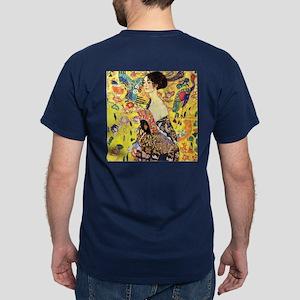Woman With A Fan by Klimt Dark T-Shirt