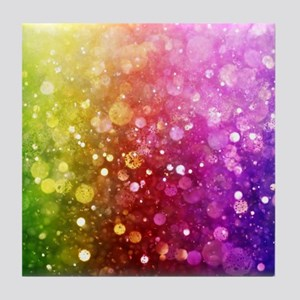 Vibrant Colors Colorful Modern Bokeh Tile Coaster
