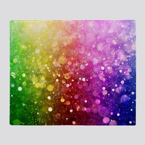 Vibrant Colors Colorful Modern Bokeh Throw Blanket