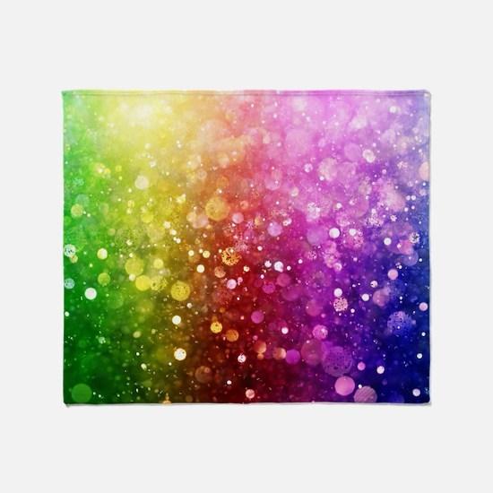 Vibrant Colors Colorful Modern Bokeh Throw Blanket