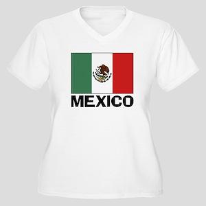 Mexican Flag Women's Plus Size V-Neck T-Shirt