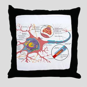 Neuron Cell Diagram Throw Pillow