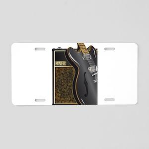 Black Semi And Amplifier Aluminum License Plate