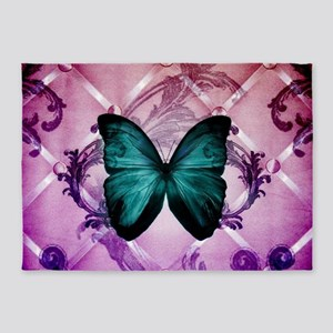 Purple girly teal butterfly 5'x7'Area Rug