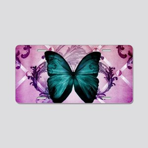 Purple girly teal butterfly Aluminum License Plate